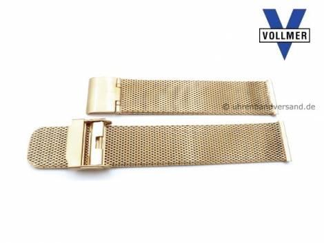 Watch strap -Filderstadt- 19mm golden stainless steel mesh light structure with slide clasp by VOLLMER - Bild vergrößern