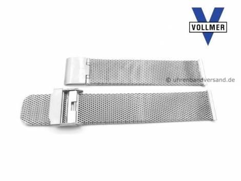 Watch strap -Filderstadt- 19mm stainless steel mesh light structure polished with slide clasp by VOLLMER - Bild vergrößern