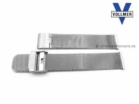 Watch strap -Filderstadt- 19mm stainless steel mesh light structure satined with slide clasp by VOLLMER - Bild vergrößern