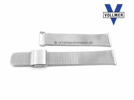 Watch strap -Bruchsal- 17mm stainless steel mesh light structure polished with slide clasp by VOLLMER - Bild vergrößern