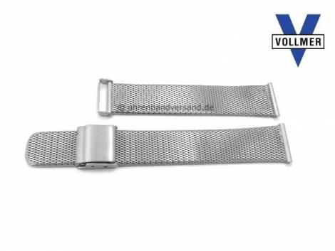 Watch strap -Bruchsal- 17mm stainless steel mesh light structure satined with slide clasp by VOLLMER - Bild vergrößern