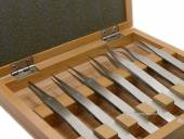 7 pieces tweezer stainless steel in wooden case