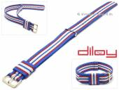 Watch strap 22mm blue nylon red and white stripes one piece strap by DILOY