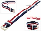 Watch strap 20mm dark blue/white/red nylon NATO style one piece strap by DILOY