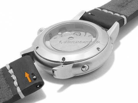 Watch strap 20mm black leather smooth light stitching with easy change spring bars DILOY (width of buckle 20 mm) - Bild vergrößern