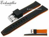 Watch strap 22mm black silicone racing design orange stitching by EICHMÜLLER (width of buckle 20 mm)