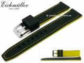 Watch strap 22mm black silicone racing design yellow stitching by EICHMÜLLER (width of buckle 20 mm)