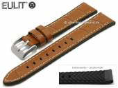 Watch strap Belize 22mm light brown leather/silicone alligator grain light stitching by EULIT (width of buckle 20 mm)