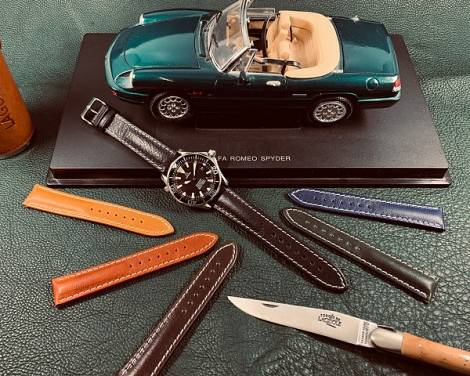 Watch strap -Chronomaster- 20mm black leather grained light stitching by BARINGTON (width of buckle 18 mm) - Bild vergrößern