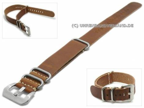 One-piece strap military look leather with 3 stainless steel loops - Bild vergrößern