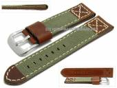 Watch strap 22mm olive green/brown textile/leather military look light stitching by ZULUDIVER (width of buckle 22 mm)
