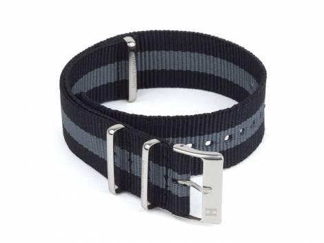 Watch strap -Härnösand- 20mm black nylon/textile with grey stripe in NATO style one piece strap by HAGLUND - Bild vergrößern