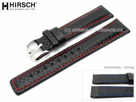Watch band carbon look calf´s leather contrast stitching from HIRSCH - Bild vergrößern