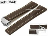 Luxury-watch strap Navigator 24mm dark brown leather light stitching with clasp by HIRSCH (width of clasp 20 mm)