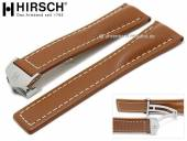 Luxury-watch strap Navigator 24mm light brown leather light stitching with clasp by HIRSCH (width of clasp 20 mm)