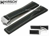 Luxury-watch strap Navigator 24mm black leather light stitching with clasp by HIRSCH (width of clasp 20 mm)