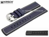 Watch strap Tiger 18mm dark blue leather/caoutchouc racing look light stitching by HIRSCH (width of buckle 16 mm)