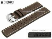 Watch strap Tiger 22mm dark brown leather/caoutchouc racing look light stitching by HIRSCH (width of buckle 20 mm)