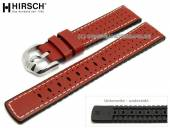Watch strap Tiger 22mm red leather/caoutchouc racing look light stitching by HIRSCH (width of buckle 20 mm)