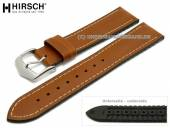 Watch strap James 18mm brown leather/caoutchouc smooth matt light brown stitching by HIRSCH (width of buckle 16 mm)