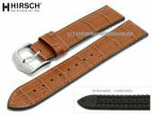 Watch strap Paul 20mm light brown leather/caoutchouc alligator grain stitched by HIRSCH (width of buckle 18 mm)