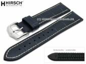 Watch strap George 20mm dark blue leather/caoutchouc alligator grain light stitching by HIRSCH (width of buckle 18 mm)