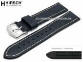 Watch strap George 22mm dark blue leather/caoutchouc alligator grain light stitching by HIRSCH (width of buckle 20 mm)