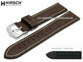 Watch strap George 22mm dark brown leather/caoutchouc alligator grain light stitching HIRSCH (width of buckle 20 mm)