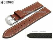 Watch strap George 20mm golden brown leather/caoutchouc alligator grain light stitching HIRSCH (width of buckle 18 mm)