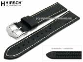 Watch strap George 22mm black leather/caoutchouc alligator grain light stitching by HIRSCH (width of buckle 20 mm)