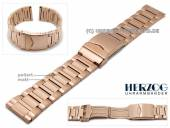Watch strap 24mm stainless steel rosé golden elegant partly polished with security clasp by HERZOG