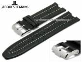 Replacement watch strap JACQUES LEMANS 14mm black leather special lug ends light stitching for 1-1838A etc.