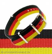 NATO One-piece strap black/red/golden textile