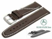 Watch strap L (long) 21mm dark brown leather KUKI-FLEX Patent light stitching by KUKI (width of buckle 18 mm)