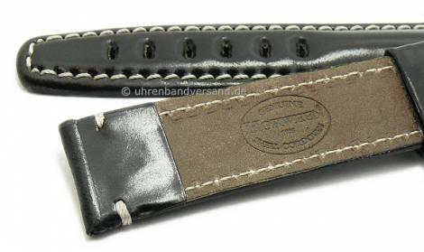 Deluxe-Watch strap 24mm black HORWEEN SHELL CORDOVAN leather KUKI-FLEX light stitching by KUKI (width of buckle 20 mm) - Bild vergrößern