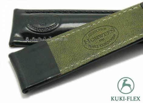 Deluxe-Watch strap 24mm black HORWEEN SHELL CORDOVAN leather KUKI-FLEX stitched by KUKI (width of buckle 20 mm) - Bild vergrößern