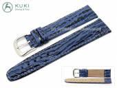 Watch strap 18mm genuine shark dark blue stitched STRONG & FLEX by KUKI (width of buckle 18 mm)