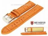 Watch band Valencia 18mm orange alligator grain stitched by MEYHOFER