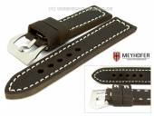 Watch band Trondheim 26mm dark brown antique-look by MEYHOFER (width of buckle 26 mm)
