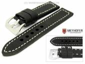 Watch band Trondheim 24mm black antique-look contrast stitching MEYHOFER (width of buckle 24 mm)