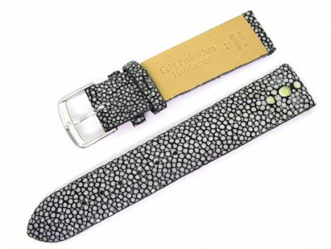 Watch band 18mm black genuine pearl ray polished by Fluco (width of buckle 16 mm) - Bild vergrößern