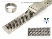 Watch strap Ulm 22mm stainless steel mesh heavy structure extravagant security clasp by VOLLMER