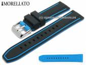 Watch strap Tarim 20mm black/light blue silicone with structure light blue stripe by MORELLATO (width of buckle 18 mm)