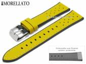 Watch strap Flyboard 20mm yellow leather/rubber grained racing look by MORELLATO (width of buckle 18 mm)