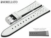 Watch strap Flyboard 20mm white leather/rubber grained racing look by MORELLATO (width of buckle 18 mm)