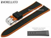 Watch strap Net Ball 22mm black textile/rubber orange strap sides by MORELLATO (width of buckle 20 mm)