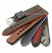 Multi-colour watch bands made of leather/synthetic/textile in diverse colour combinations