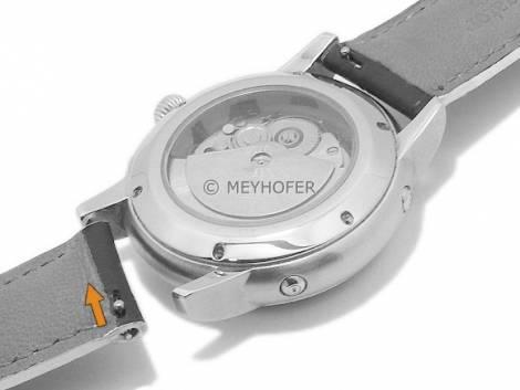 Meyhofer EASY-CLICK watch strap -Cascadia- 20mm black leather alligator grain light stitching (width of buckle 18 mm) - Bild vergrößern