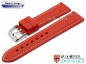 Meyhofer EASY-CLICK watch strap Tanaro 22mm red caoutchouc smooth light contrast stitching (width of clasp 20 mm)