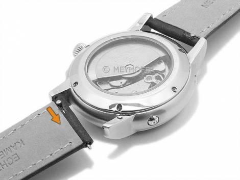 Meyhofer EASY-CLICK watch strap -Acadia- 18mm black leather lightly grain matt stitched (width of buckle 16 mm) - Bild vergrößern